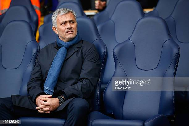Jose Mourinho manager of Chelsea looks on prior to the Barclays Premier League match between Tottenham Hotspur and Chelsea at White Hart Lane on...