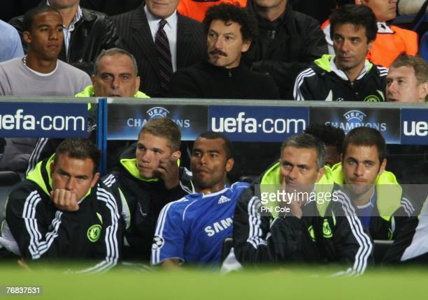 Jose Mourinho manager of Chelsea looks thoughtful during the UEFA Champions League Group B match between Chelsea and Rosenborg at Stamford Bridge on...