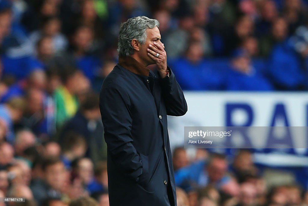 Jose Mourinho manager of Chelsea reacts during the Barclays Premier League match between Everton and Chelsea at Goodison Park on September 12 2015 in...