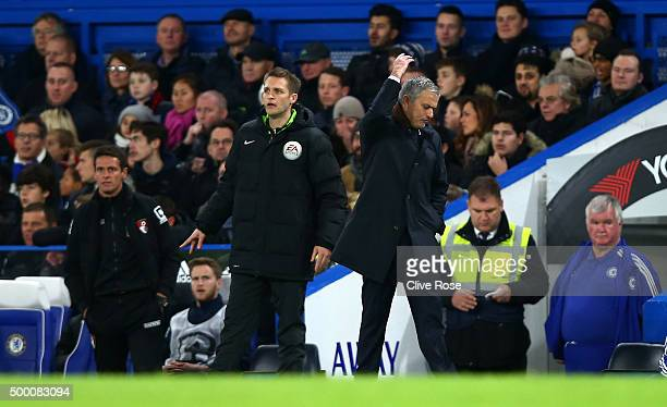Jose Mourinho Manager of Chelsea reacts during the Barclays Premier League match between Chelsea and AFC Bournemouth at Stamford Bridge on December 5...