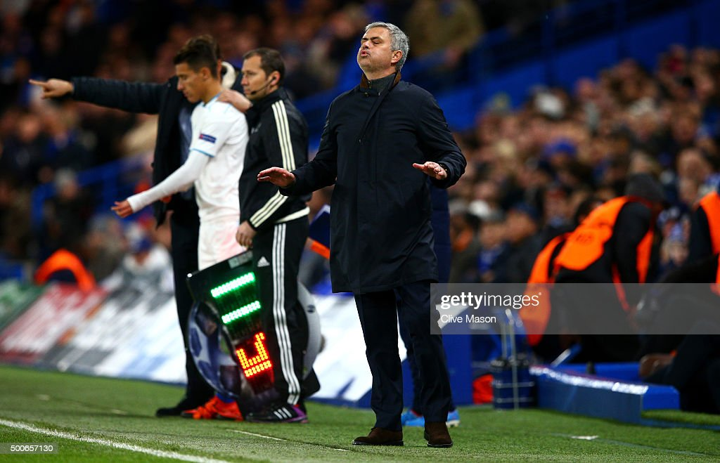Jose Mourinho, Manager of Chelsea reacts during the UEFA Champions League Group G match between Chelsea FC and FC Porto at Stamford Bridge on December 9, 2015 in London, United Kingdom.