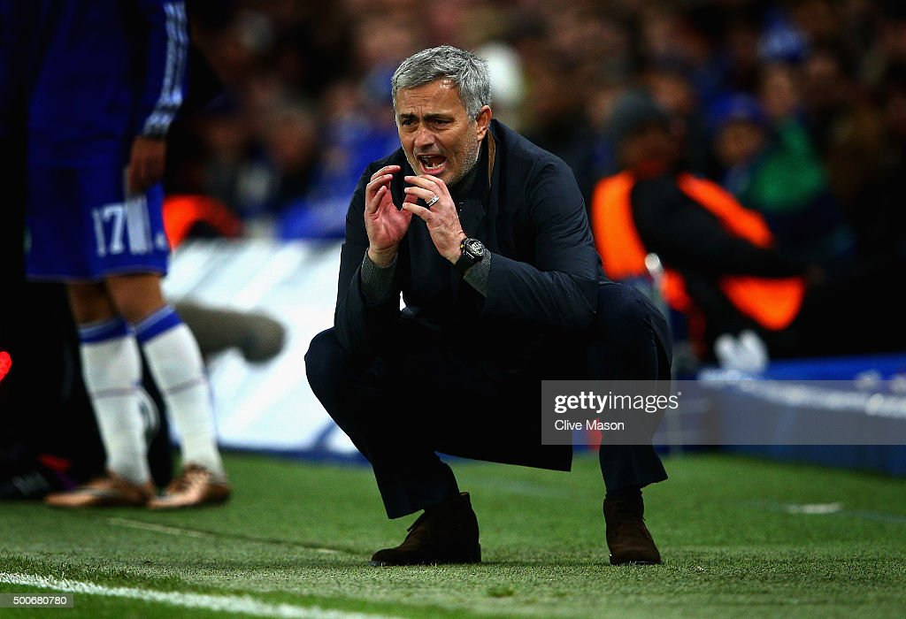 Jose Mourinho manager of Chelsea reacts during the UEFA Champions League Group G match between Chelsea FC and FC Porto at Stamford Bridge on December...