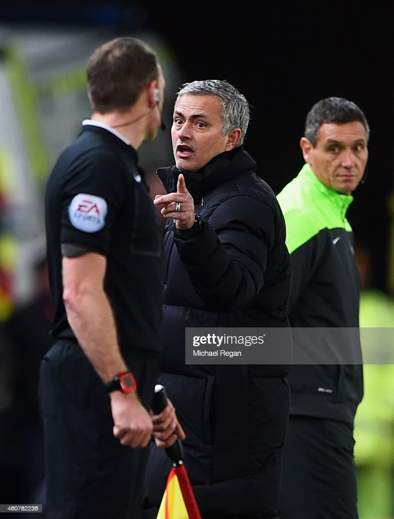 Jose Mourinho manager of Chelsea reacts towards the assistant referee during the Barclays Premier League match between Stoke City and Chelsea at...