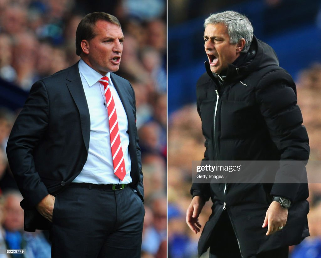 IMAGES - Image Numbers 150452492 (L) and 479407505) In this composite image a comparison has been made between <a gi-track='captionPersonalityLinkClicked' href=/galleries/search?phrase=Brendan+Rodgers+-+Soccer+Manager&family=editorial&specificpeople=5446684 ng-click='$event.stopPropagation()'>Brendan Rodgers</a> ,manager of Liverpool (L) and Chelsea manager Jose Mourinho. The top two teams in the Premier League meet in a league match on April 27, 2014 at Anfield in Liverpool,England. LONDON, ENGLAND - MARCH 18: Jose Mourinho manager of Chelsea shouts during the UEFA Champions League Round of 16 second leg match between Chelsea and Galatasaray AS at Stamford Bridge on March 18, 2014 in London, England.