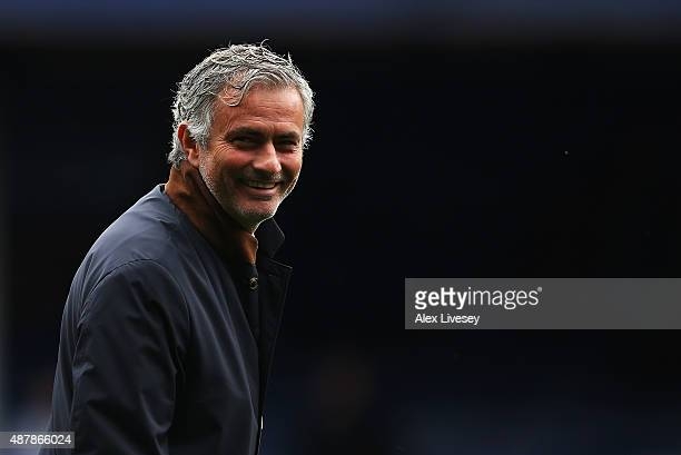 Jose Mourinho manager of Chelsea smiles prior to the Barclays Premier League match between Everton and Chelsea at Goodison Park on September 12 2015...