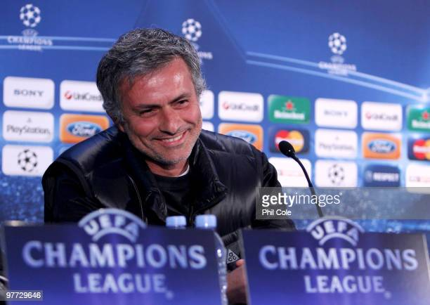 Jose Mourinho manager of Inter Milan speaks to the media during a press conference ahead of their UEFA Champions League last 16 second leg match...