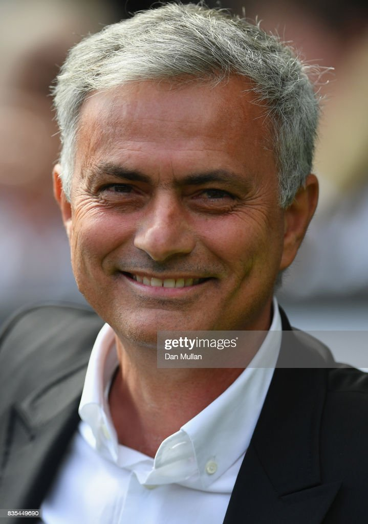 Jose Mourinho, Manager of Manchester Unied looks on prior to the Premier League match between Swansea City and Manchester United at Liberty Stadium on August 19, 2017 in Swansea, Wales.