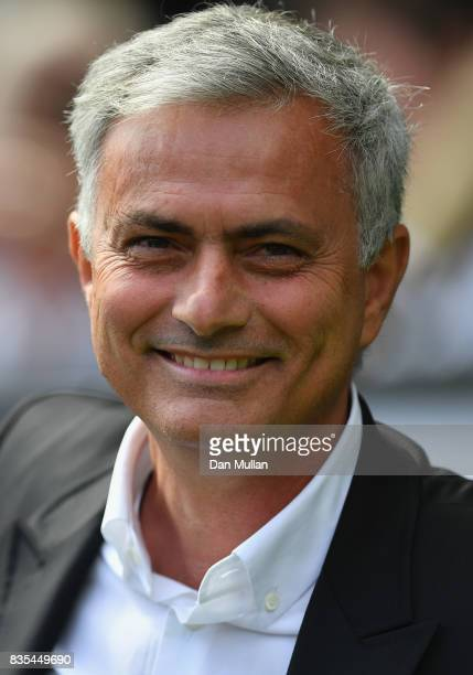 Jose Mourinho Manager of Manchester Unied looks on prior to the Premier League match between Swansea City and Manchester United at Liberty Stadium on...