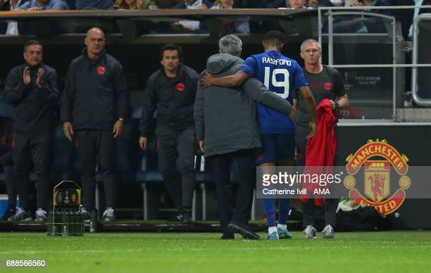 Jose Mourinho Manager of Manchester United and Marcus Rashford of Manchester United during the UEFA Europa League Final match between Ajax and...