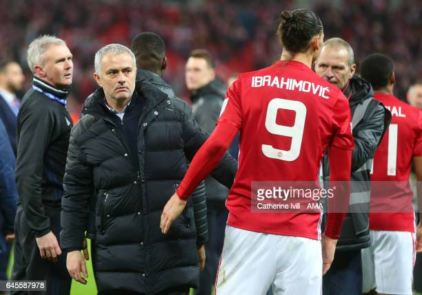 Jose Mourinho Manager of Manchester United and Zlatan Ibrahimovic of Manchester United during the EFL Cup Final match between Manchester United and...