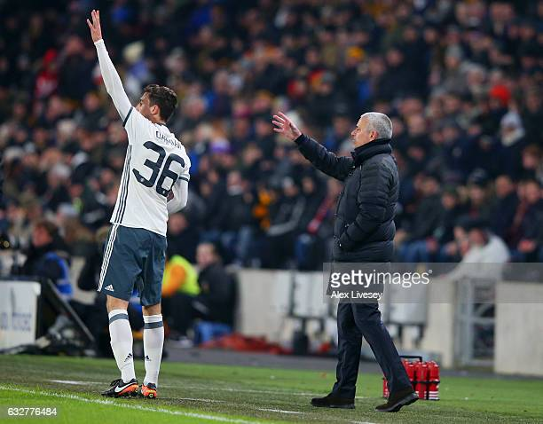 Jose Mourinho manager of Manchester United andMatteo Darmian of Manchester United appeal during the EFL Cup SemiFinal second leg match between Hull...