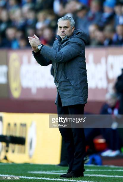 Jose Mourinho manager of Manchester United applauds his players during the Premier League match between Burnley and Manchester United at Turf Moor on...