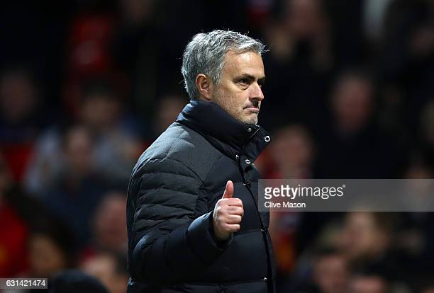 Jose Mourinho Manager of Manchester United applauds supporters during the EFL Cup SemiFinal First Leg match between Manchester United and Hull City...