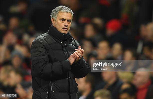 Jose Mourinho manager of Manchester United applauds the crowd after the Premier League match between Manchester United and Liverpool at Old Trafford...