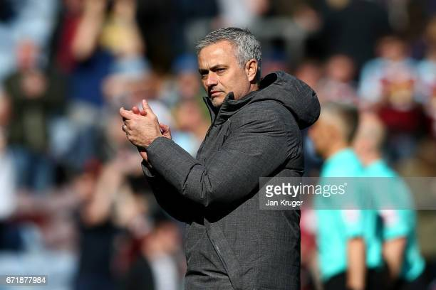 Jose Mourinho manager of Manchester United applauds the fans after the Premier League match between Burnley and Manchester United at Turf Moor on...