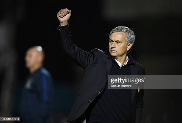 Jose Mourinho Manager of Manchester United celebrates during the EFL Cup Third Round match between Northampton Town and Manchester United at...