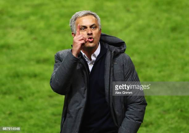 Jose Mourinho Manager of Manchester United celebrates following the UEFA Europa League Final between Ajax and Manchester United at Friends Arena on...