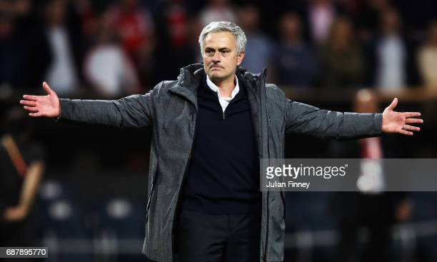 Jose Mourinho Manager of Manchester United celebrates victory after the UEFA Europa League Final between Ajax and Manchester United at Friends Arena...