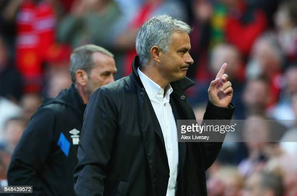 Jose Mourinho Manager of Manchester United celebrates victory after the Premier League match between Manchester United and Everton at Old Trafford on...