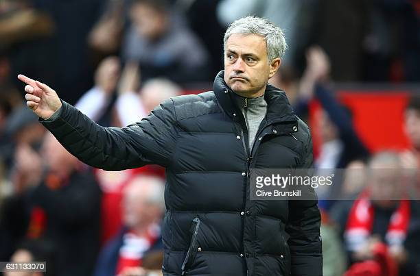 Jose Mourinho Manager of Manchester United celebrates victory following the Emirates FA Cup third round match between Manchester United and Reading...