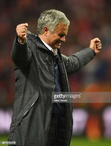 Jose Mourinho Manager of Manchester United celebrates victory following the UEFA Europa League Final between Ajax and Manchester United at Friends...
