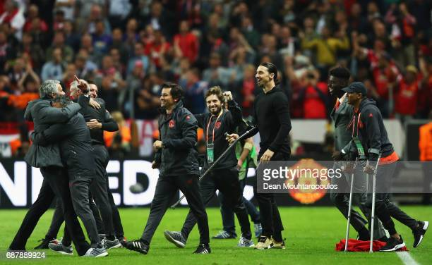 Jose Mourinho Manager of Manchester United celebrates victory with his players after the UEFA Europa League Final between Ajax and Manchester United...