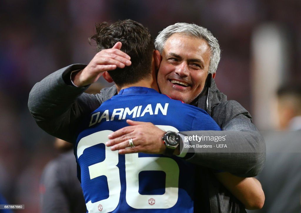 Jose Mourinho, Manager of Manchester United celebrates with Matteo Darmian of Manchester United following victory in the UEFA Europa League Final between Ajax and Manchester United at Friends Arena on May 24, 2017 in Stockholm, Sweden.