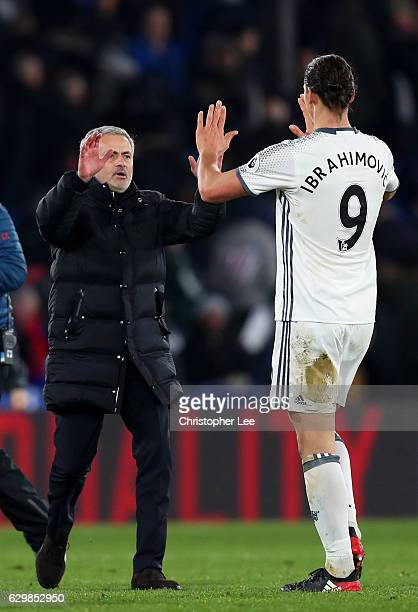 Jose Mourinho Manager of Manchester United congratulates Zlatan Ibrahimovic after the Premier League match between Crystal Palace and Manchester...