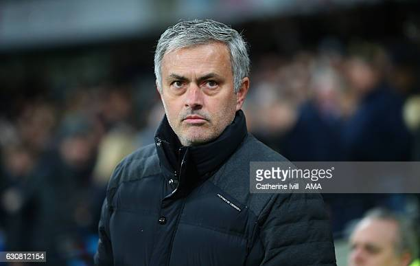 Jose Mourinho Manager of Manchester United during the Premier League match between West Ham United and Manchester United at London Stadium on January...