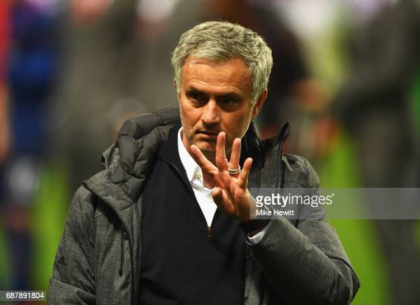 Jose Mourinho Manager of Manchester United gestures following victory in the UEFA Europa League Final between Ajax and Manchester United at Friends...