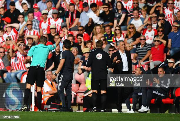 Jose Mourinho Manager of Manchester United gets sent to the stands by referee Craig Pawson during the Premier League match between Southampton and...