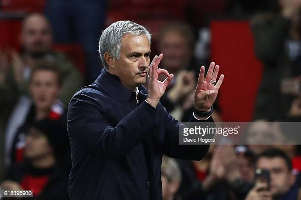 Jose Mourinho Manager of Manchester United gives his team instructions during the EFL Cup fourth round match between Manchester United and Manchester...
