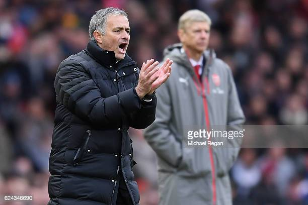 Jose Mourinho Manager of Manchester United gives his team instructions during the Premier League match between Manchester United and Arsenal at Old...