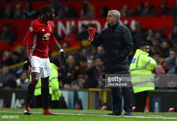 Jose Mourinho Manager of Manchester United gives instruction to Paul Pogba during the Premier League match between Manchester United and Tottenham...