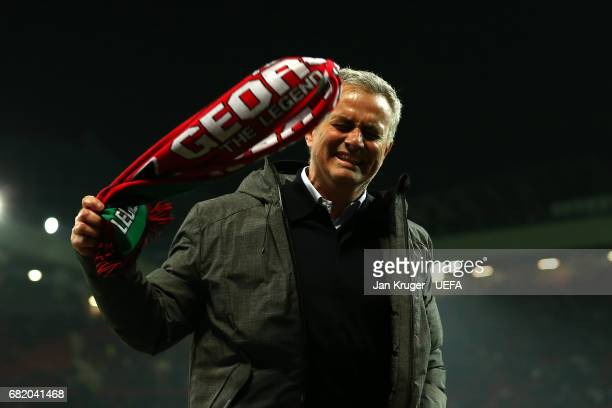 Jose Mourinho Manager of Manchester United interacts with supporters following the UEFA Europa League semi final second leg match between Manchester...