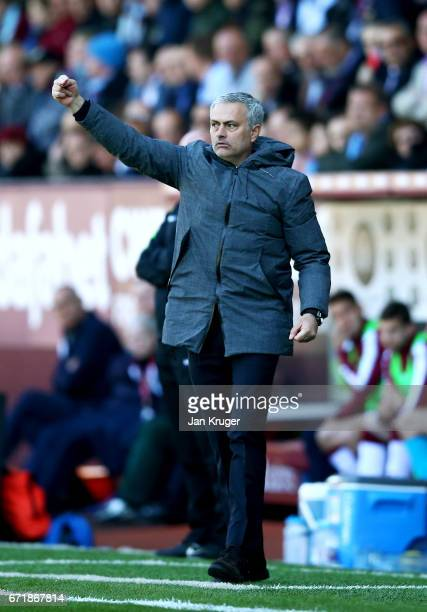 Jose Mourinho manager of Manchester United issues instructions to his players during the Premier League match between Burnley and Manchester United...