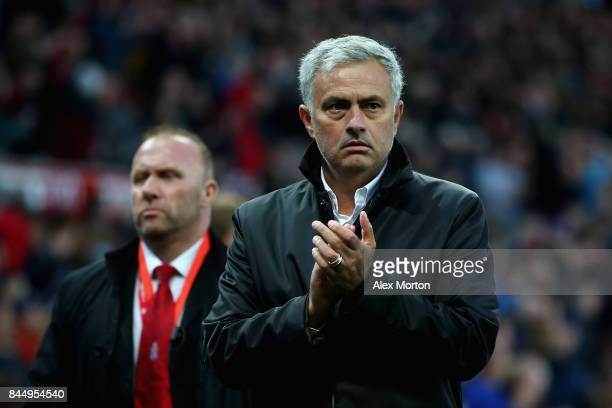 Jose Mourinho Manager of Manchester United leaves the pitch during the Premier League match between Stoke City and Manchester United at Bet365...
