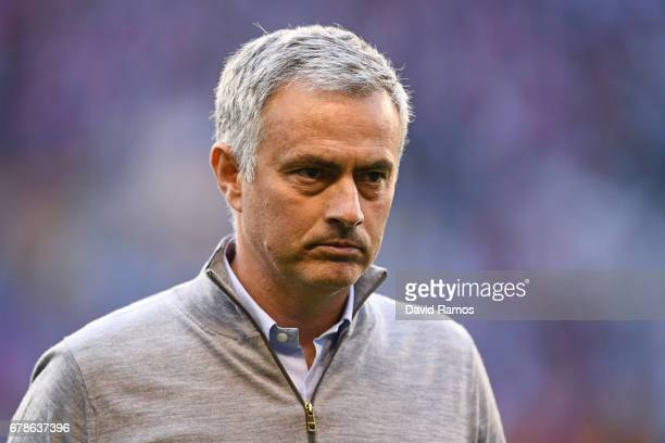 Jose Mourinho manager of Manchester United look thoughtful prior to the UEFA Europa League semi final first leg match between Celta Vigo and...