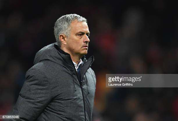 Jose Mourinho manager of Manchester United looks on after the UEFA Europa League quarter final second leg match between Manchester United and RSC...
