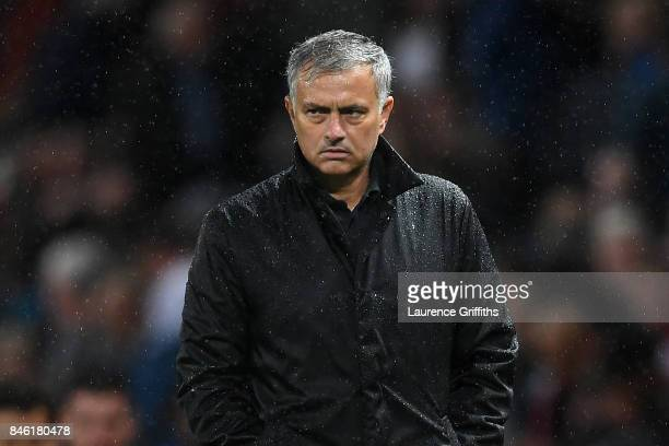 Jose Mourinho Manager of Manchester United looks on after the UEFA Champions League Group A match between Manchester United and FC Basel at Old...