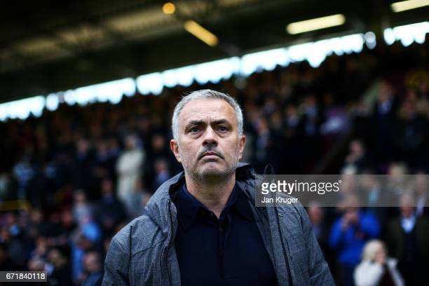 Jose Mourinho manager of Manchester United looks on before the Premier League match between Burnley and Manchester United at Turf Moor on April 23...