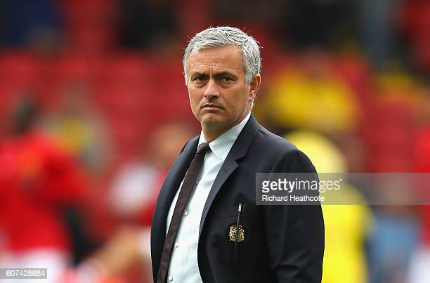 Jose Mourinho Manager of Manchester United looks on during the Premier League match between Watford and Manchester United at Vicarage Road on...