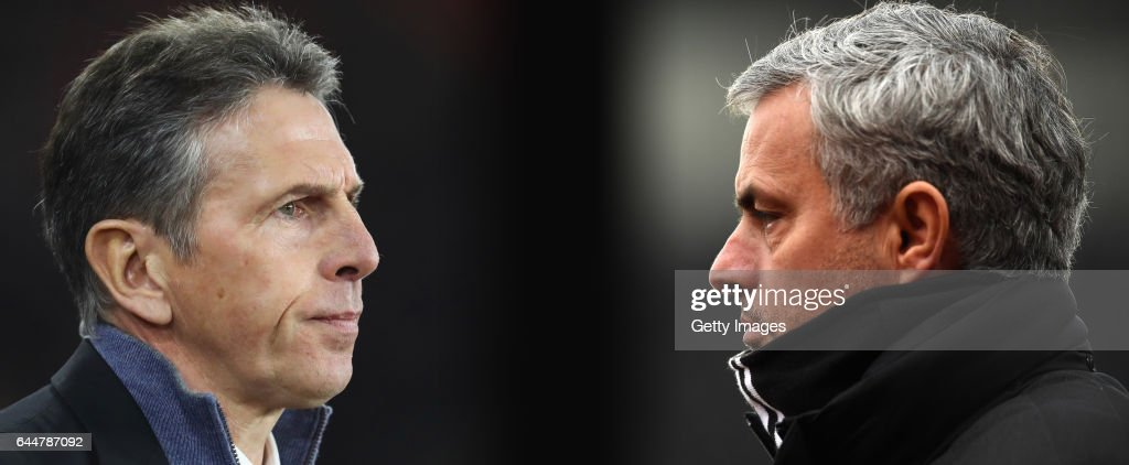 IMAGES - Image numbers (L) 630621100 and 632284824) In this composite image a comparision has been made between Claude Puel manager of Southampton (L) and Jose Mourinho, Manager of Manchester United. Southampton and Manchester United meet in the EFL Cup Final at Wembley Stadium on February 26, 2017 in London,England. STOKE ON TRENT, ENGLAND - JANUARY 21: Jose Mourinho, Manager of Manchester United looks on during the Premier League match between Stoke City and Manchester United at Bet365 Stadium on January 21, 2017 in Stoke on Trent, England.