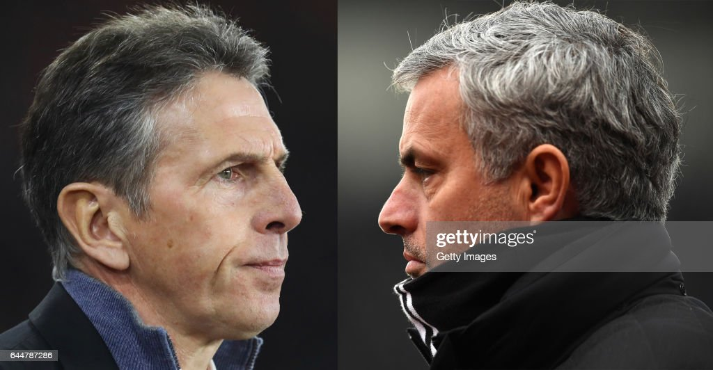 (EDITORS NOTE - COMPOSITE OF TWO IMAGES - Image numbers (L) 630621100 and 632284824) In this composite image a comparision has been made between Claude Puel manager of Southampton (L) and Jose Mourinho, Manager of Manchester United. Southampton and Manchester United meet in the EFL Cup Final at Wembley Stadium on February 26, 2017 in London,England. STOKE ON TRENT, ENGLAND - JANUARY 21: Jose Mourinho, Manager of Manchester United looks on during the Premier League match between Stoke City and Manchester United at Bet365 Stadium on January 21, 2017 in Stoke on Trent, England.