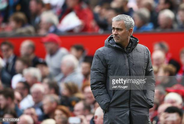 Jose Mourinho Manager of Manchester United looks on during the Premier League match between Manchester United and Swansea City at Old Trafford on...