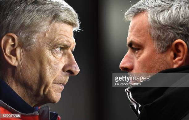 COMPOSITE OF TWO IMAGES Image numbers 609115656 and 632284824 In this composite image a comparision has been made between Arsene Wenger Manager of...