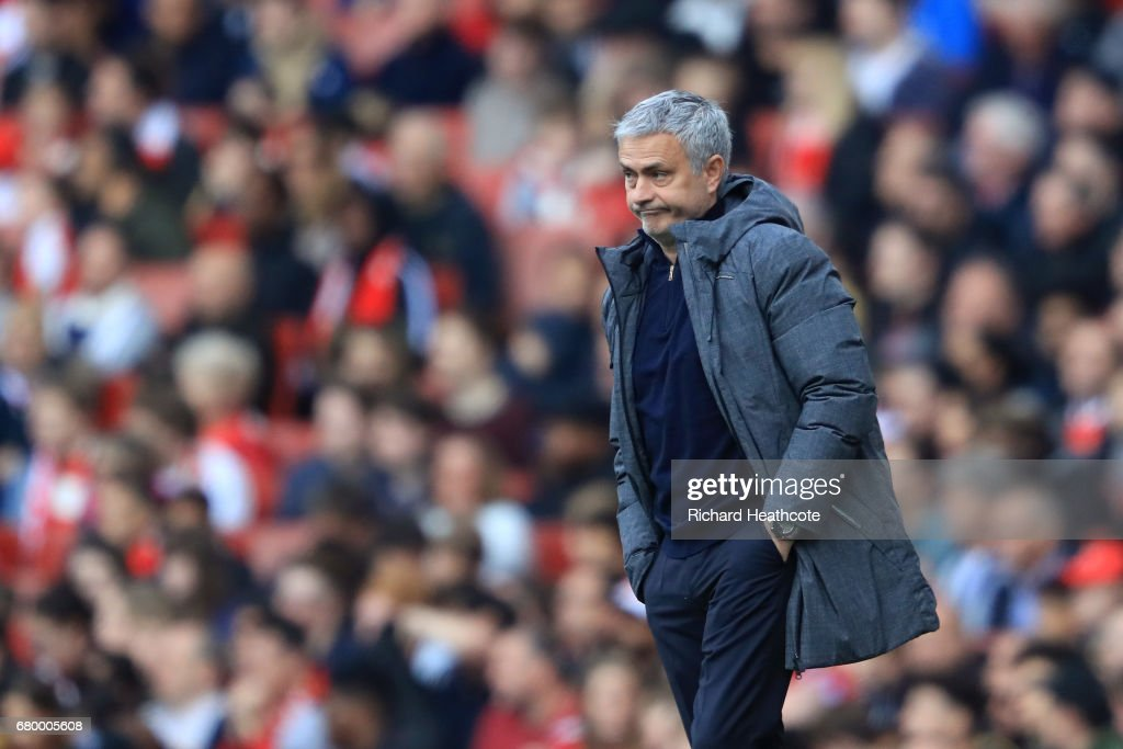 Jose Mourinho, Manager of Manchester United looks on during the Premier League match between Arsenal and Manchester United at the Emirates Stadium on May 7, 2017 in London, England.