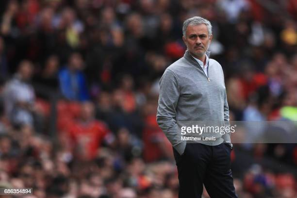 Jose Mourinho Manager of Manchester United looks on during the Premier League match between Manchester United and Crystal Palace at Old Trafford on...