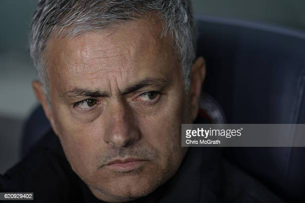 Jose Mourinho Manager of Manchester United looks on during the UEFA Europa League Group A match between Fenerbahce SK and Manchester United FC at...