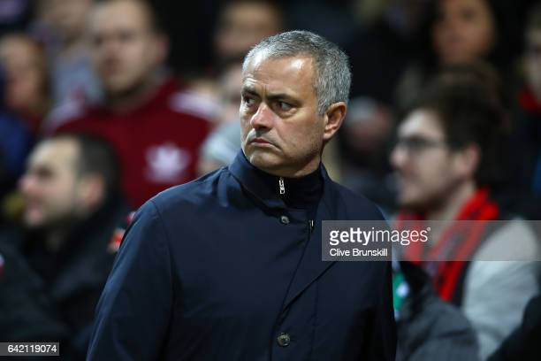 Jose Mourinho Manager of Manchester United looks on during the UEFA Europa League Round of 32 first leg match between Manchester United and AS...